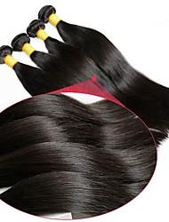baratos -6 pacotes Cabelo Brasileiro Liso Cabelo Virgem Não processado Cabelo Natural Peça para Cabeça Cabelo Humano Ondulado Extensor 8-28 polegada Côr Natural Tramas de cabelo humano Recém nascido Sedoso