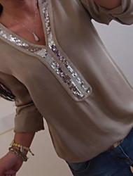 Недорогие -Жен. Пайетки / Свободное облегание Большие размеры - Блуза V-образный вырез Классический Геометрический принт / Весна / Лето / Осень