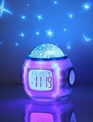Недорогие -музыка звездное небо проекция будильник дремлет цифровой светодиодный будильник календарь термометр проекционный свет