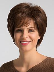 Недорогие -Человеческие волосы без парики Натуральные волосы Естественный прямой Стрижка боб Модный дизайн / Легко туалетный / Удобный Коричневый Короткие Без шапочки-основы Парик Жен. / Природные волосы