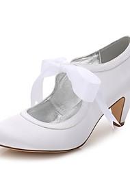 hesapli -Kadın's Ayakkabı Saten İlkbahar yaz Tatlı Düğün Ayakkabıları Külah Topuk Yuvarlak Uçlu Düğün / Parti ve Gece için Kurdele Bağcık Beyaz / Kristal