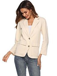 ราคาถูก -สำหรับผู้หญิง ทุกวัน ฤดูใบไม้ร่วง & ฤดูหนาว ปกติ เสื้อคลุมสุภาพ, สีพื้น ปกคอแบะของเสื้อแบบพึค แขนยาว สังเคราะห์ / เส้นใยสังเคราะห์ ขาว M / L / XL