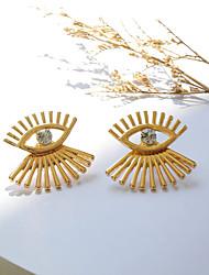hesapli -1 çift Kadın's Klasik Küpe - Simüle Elmas Eyes Tatlı Modern Mücevher Altın / Gümüş Uyumluluk Randevu Cadde