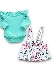 お買い得  -赤ちゃん 女の子 ストリートファッション 日常 フラワー 長袖 レギュラー ポリエステル アンサンブル グリーン