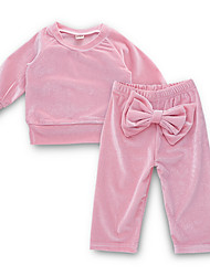 cheap -Baby Girls' Street chic Daily Solid Colored Long Sleeve Regular Polyester Clothing Set Pink