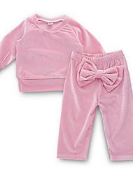 ราคาถูก -ทารก เด็กผู้หญิง Street Chic ทุกวัน สีพื้น แขนยาว ปกติ เส้นใยสังเคราะห์ ชุดเสื้อผ้า สีแดงชมพู