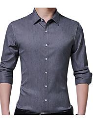 Недорогие -Муж. Офис Большие размеры - Рубашка Хлопок Тонкие Деловые Однотонный / Длинный рукав