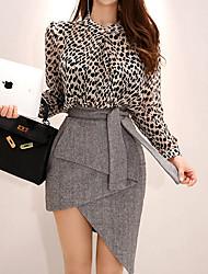 Недорогие -Жен. Классический Рубашка Завышенная Юбки Однотонный / Леопард / Сексуальные платья