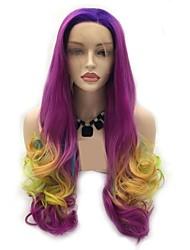 halpa -Synteettiset pitsireunan peruukit Naisten Runsaat laineet Vaaleanpunainen Kerroksittainen leikkaus 130% Hiuksista Density Synteettiset hiukset 24 inch Naisten Vaaleanpunainen / Violetti Peruukki Pitkä