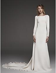 billige -Tube / kolonne Besmykket Kapellslep Taft Made-To-Measure Brudekjoler med Blonder av LAN TING BRIDE®