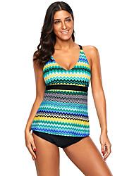 זול -L XL XXL שתי וערב קולור בלוק, בגדי ים טנקיני נועזת סגול כחול בהיר בסיסי בגדי ריקוד נשים