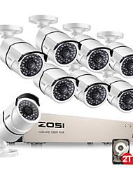 Недорогие -zosi® 1080p 8-канальная сетевая система видеонаблюдения Poe 8шт 2-мегапиксельная наружная внутренняя IP-камера видеонаблюдения безопасности комплект NVR 2 ТБ HDD