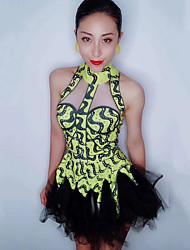 お買い得  -ダンスコスチューム エキゾチック・ダンスウェア / ナイトクラブジャンプスーツ 女性用 性能 スパンデックス コンビ / クリスタル / ラインストーン ノースリーブ ドレス