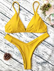 4801beb1e9 Women s Basic Strap Red Gray Yellow Thong Bikini Swimwear - Geometric S M L  Red