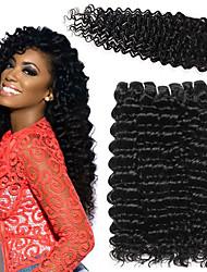 お買い得  -閉鎖した3つのバンドル ペルービアンヘア ディープ・カーリー 人毛 布模様 閉鎖が付いている毛横糸 10-26 インチ ナチュラルカラー 人間の髪織り 4x4の閉鎖 ソフト 新参者 100% バージン 人間の髪の拡張機能 女性用