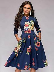Недорогие -Жен. Элегантный стиль Оболочка Платье - Однотонный / Геометрический принт, Плиссировка До колена