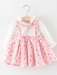 cheap -Toddler Girls' Sweet School Cherry Fruit Bow Long Sleeve Above Knee Cotton Dress Pink