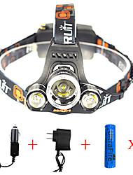 Недорогие -Налобные фонари огни безопасности Фары для велосипеда Светодиодная лампа Cree® XM-L2 излучатели 13000 lm 1 Режим освещения с батарейками и зарядными устройствами
