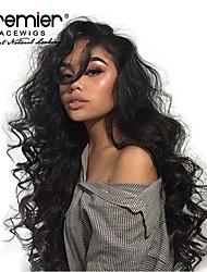 Недорогие -Не подвергавшиеся окрашиванию 360 Лобовой Лента спереди Парик Глубокое разделение стиль Бразильские волосы Волнистый Нейтральный Парик 130% 150% 180% Плотность волос / Жаропрочная