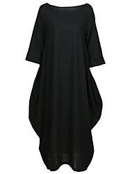Недорогие -женское плюс размер ежедневно миди свободная смена платье лодочка шею хлопок красный черный синий s m l xl
