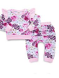 お買い得  -赤ちゃん 女の子 活発的 日常 フラワー プリント 長袖 レギュラー ポリエステル アンサンブル ピンク