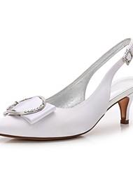 hesapli -Kadın's Ayakkabı Saten İlkbahar yaz Tatlı Düğün Ayakkabıları Minik Topuk Sivri Uçlu Düğün / Parti ve Gece için Taşlı / Işıltılı Pullar / Toka Mavi / Açık Kahverengi / Kristal