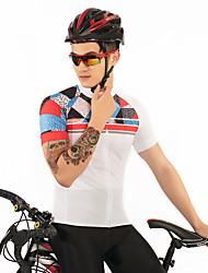 お買い得  -FirtySnow 女性用 半袖 サイクリングジャージー - ホワイト ソリッド チェック / 格子柄 バイク ジャージー, 高通気性 速乾性 ポリエステル / 伸縮性あり
