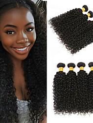 Недорогие -4 Связки Бразильские волосы Kinky Curly Не подвергавшиеся окрашиванию Необработанные натуральные волосы Человека ткет Волосы Сувениры для чаепития Уход за волосами 8-28 дюймовый Естественный цвет