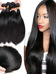 tanie -6 pakietów Prosta Włosy virgin Nieprzetworzone włosy naturalne Nakrycie głowy Fale w naturalnym kolorze Pielęgnacja włosów 8-28 in Kolor naturalny Ludzkie włosy wyplata Noworodek Jedwabisty Nowości