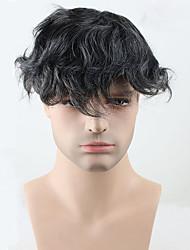 Недорогие -Муж. Натуральные волосы Накладки для мужчин Волнистый 100% ручная работа Мягкость / Темно-серый
