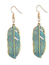 hesapli -1 çift Kadın's Retro Damla Küpeler - Leaf Shape Avrupa Tatlı Mücevher Altın Uyumluluk Randevu Cadde