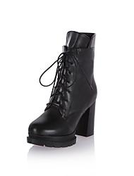 hesapli -Kadın's Ayakkabı PU Sonbahar Kış Vintage / Minimalizm Çizmeler Kalın Topuk Yuvarlak Uçlu Yarı-Diz Boyu Çizmeler Günlük / Ofis ve Kariyer için Siyah / Kırmzı / Badem
