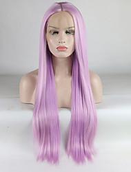 voordelige -Pruik Lace Front Synthetisch Haar Dames Recht Paars Middelste stuk 180% Human Hair Density Synthetisch haar 18-26 inch(es) Verstelbaar / Kant / Hittebestendig Paars Pruik Lang Kanten Voorkant Paars