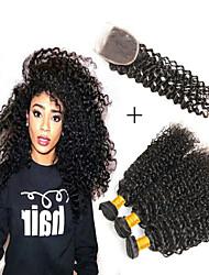Недорогие -3 комплекта с закрытием Бразильские волосы Kinky Curly Не подвергавшиеся окрашиванию человеческие волосы Remy Человека ткет Волосы Аксессуары для костюмов Пучок волос 8-20 дюймовый Естественный цвет