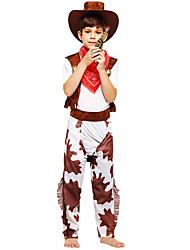 levne -Westworld Západní kovboj Kovbojské kostýmy Chlapecké Dětské Úbory Vánoce Halloween Karneval Festival / Svátek Polyester Vybavení Kávová Potisk