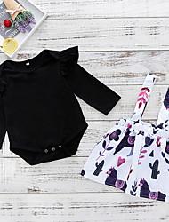 ราคาถูก -ทารก เด็กผู้หญิง ซึ่งทำงานอยู่ ทุกวัน ลายดอกไม้ แขนยาว ปกติ เส้นใยสังเคราะห์ ชุดเสื้อผ้า สีดำ