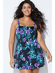 povoljno -Žene Osnovni Plava Cheeky gaćice Jednodijelno Kupaći kostimi - Geometrijski oblici XXL XXXL XXXXL