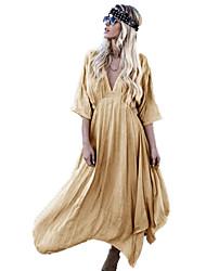 Недорогие -Жен. Пляж Уличный стиль С летящей юбкой Платье - Однотонный Глубокий V-образный вырез Макси