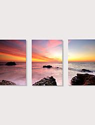 Недорогие -С картинкой Отпечатки на холсте - Пейзаж Фото Modern 3 панели Репродукции