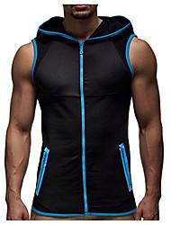 ราคาถูก -เสื้อแขนกุดชาย - บล็อคสี / เสื้อคลุมเรขาคณิตสีน้ำเงิน m