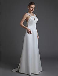 Недорогие -А-силуэт V-образный вырез В пол Сатин Свадебные платья Made-to-Measure с Бусины / Бант(ы) от LAN TING BRIDE®