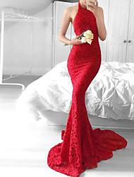 Недорогие -Жен. Классический Оболочка Платье - Однотонный, Кружева / Открытая спина Макси