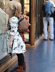 billige -Baby Jente Aktiv Trykt mønster Langermet Polyester Kjole Beige