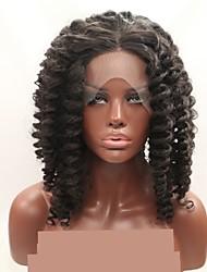 お買い得  -合成レースフロントウィッグ 女性用 アフロキンキー ダークブラウン レイヤード・ヘアカット 130% 人間の毛髪密度 合成 24 インチ 女性 ダークブラウン かつら ショート フロントレース ベージュ Sylvia