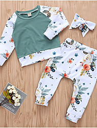 cheap -Baby Girls' Street chic Daily Floral Long Sleeve Regular Polyester Clothing Set White