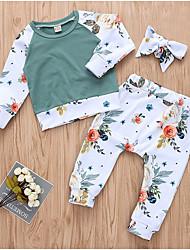 ราคาถูก -ทารก เด็กผู้หญิง Street Chic ทุกวัน ลายดอกไม้ แขนยาว ปกติ เส้นใยสังเคราะห์ ชุดเสื้อผ้า ขาว