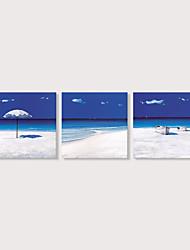 Недорогие -С картинкой Отпечатки на холсте - Пляж Фото Modern