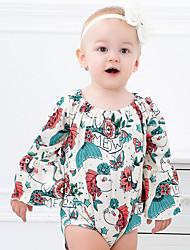 お買い得  -赤ちゃん 女の子 ストリートファッション 日常 フラワー 長袖 ポリエステル ワンピース イエロー
