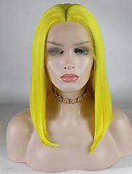 voordelige -Pruik Lace Front Synthetisch Haar Dames Gekruld Goud Middelste stuk 180% Human Hair Density Synthetisch haar 12-16 inch(es) Verstelbaar / Kant / Hittebestendig Goud Pruik Kort Kanten Voorkant Geel