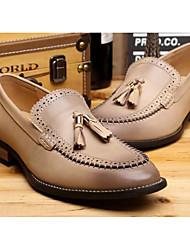 baratos -Homens Sapatos Confortáveis Pele Verão Oxfords Preto / Café / Amarelo Claro